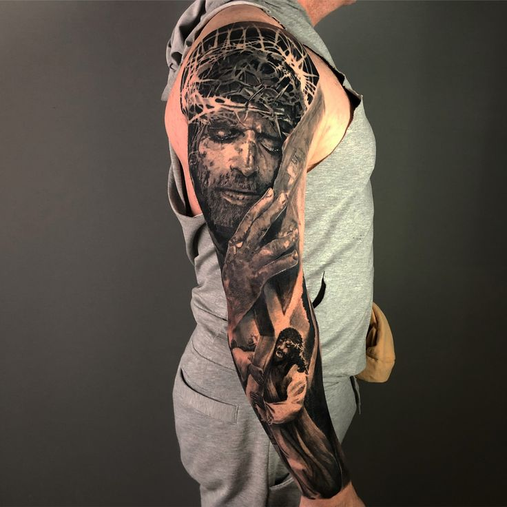 Passion of jesus full sleeve black and grey tattoos