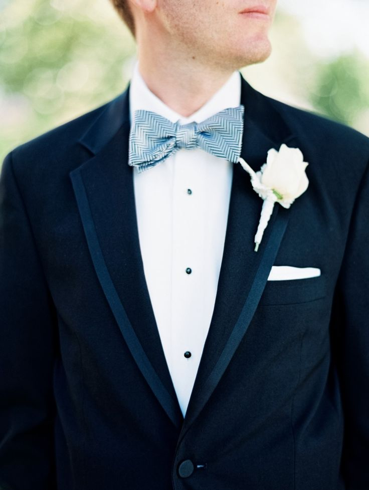 Textured Grayish Blue Bow Tie Self Paired With Clic Black Tux Wedding Menwedding
