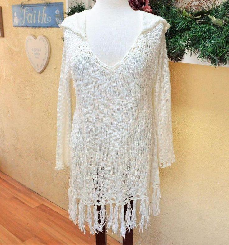 Lovemarks M Womens Hoodie Sweater Ivory Crochet Fringe LS Open Weave Acrylic #Lovemarks #Hooded #Casual