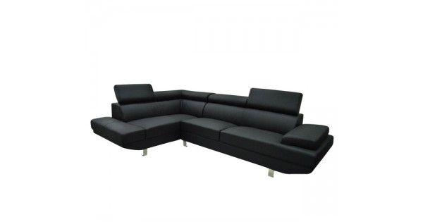 Γωνιακός καναπές Sector με επενδυση τεχνοδερμα σε μαυρο χρωμα