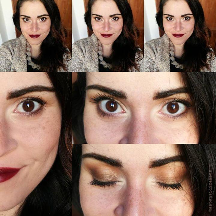 Dettaglio del trucco di oggi: avevo bisogno di qualcosa di più strutturato e soprattutto di un rossetto come si deve    come base ho usato il Prolongwear concealer di MAC Cosmetics nelle colorazioni NC20 e NC25 fissato con la cipria De-slick mattifying powder di Urban Decay Cosmetics e messo come blush il bellissimo B23 di UNE beauty   sugli occhi ho usato come base il supreme eyeshadow 03 di Kiko Milano su cui ho tamponato Sumptuous olive di MAC. All'angolo esterno ho usato Darkhorse di…