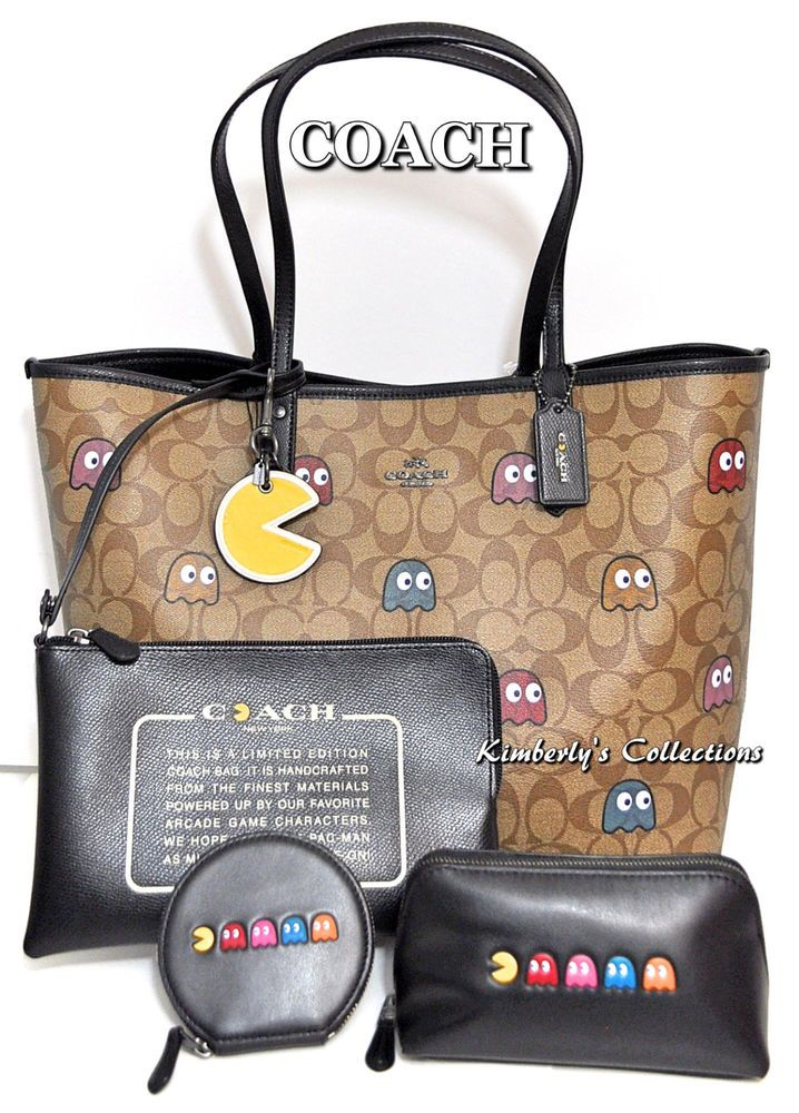 COACH X PAC-MAN LTD Ghost Signature Tote, Cosmetic Bag, Coin Purse & Key Chain! #Coach #SatchelCrossBodyTotesShoppers