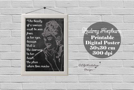 Audrey Hepburn poster, Blackboard poster Audrey Hepburn, Audrey Hepburn printable poster, Home Decor, Quote print, Audrey Hepburn Decor