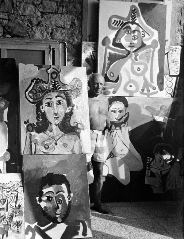 Lucien Clergue - Pablo Picasso in his Studio at Mougins
