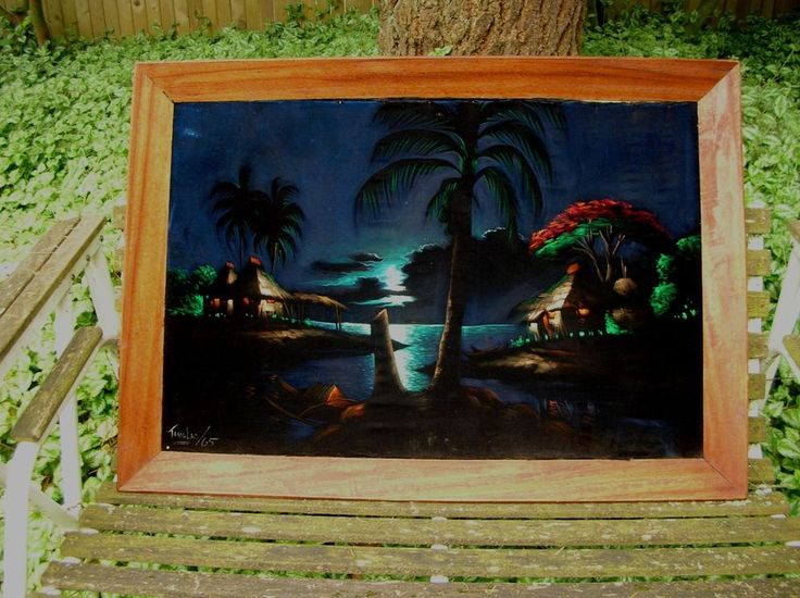 Vintage 1965 Tropical - Hawaiian Painting On Black Velvet Felix TANGLAO Signd