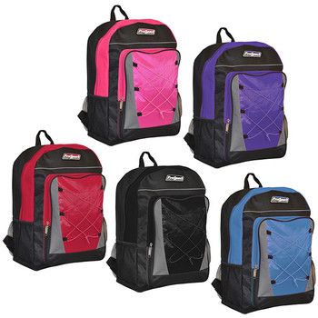 "17"" Backpacks: Assorted Colors. Bulk wholesale backpacks. Comes in pink, purple, red, black and blue. $6.67 each."