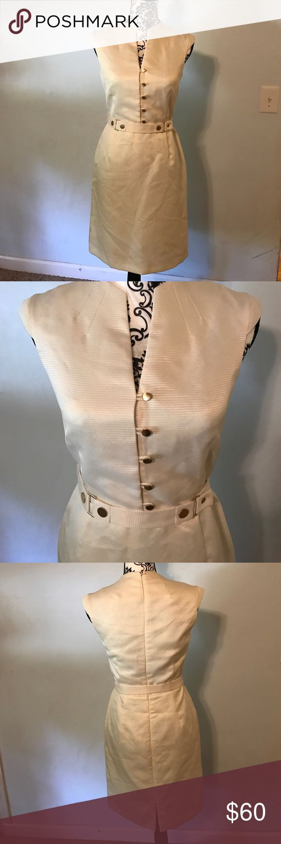 Antonio Melani cream colored dress Bust 34. Length 37 inches from shoulder. Self belt. Back zip. Dress 100% polyester ANTONIO MELANI Dresses