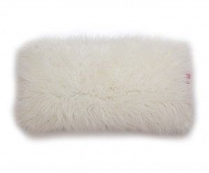 Poduszka dekoracyjna z futra Alpaka Kremowa 80x40 cm