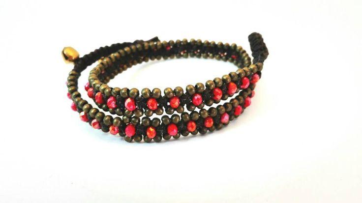 Bracciale intrecciato con perle di e vetro e bronzo rosso di Amacreazioni su Etsy