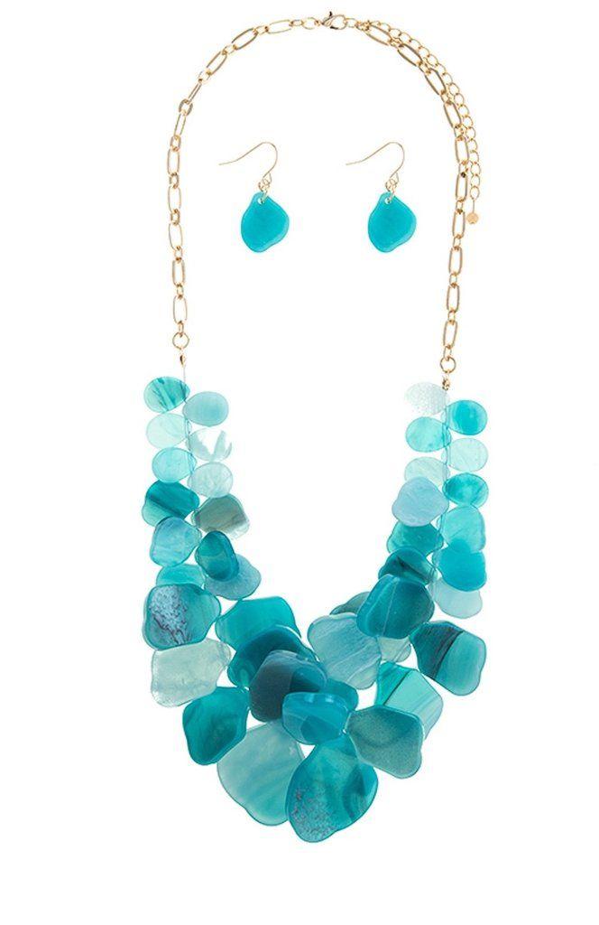 Mixed Shaped Turquoise Gem Bib Necklace Set