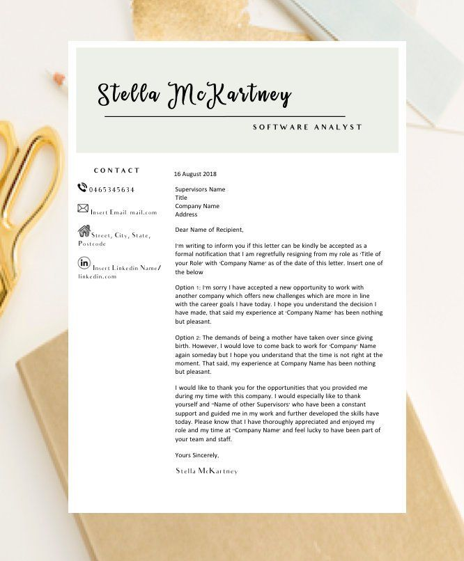 Resignation Letter Template / Termination Letter / Letter of