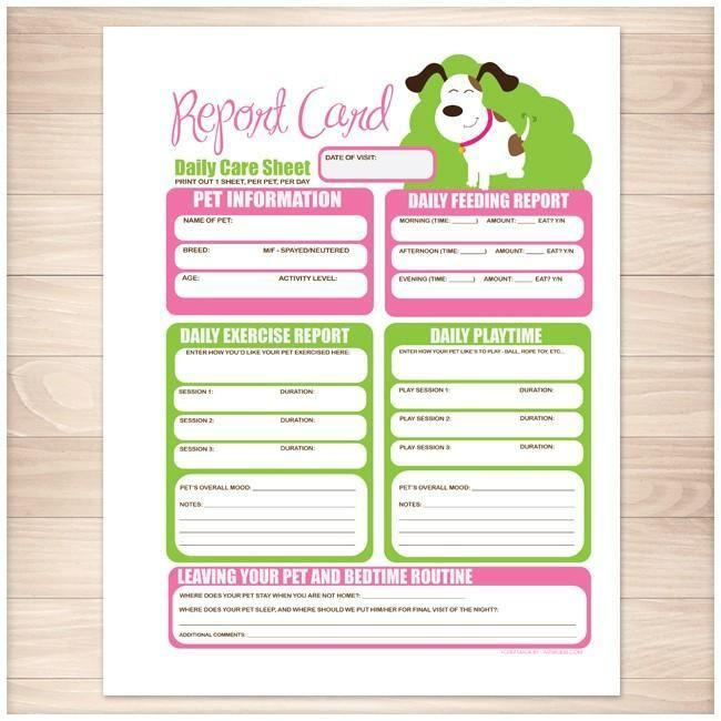 Printable Goodie For You Pet Sitting Dog Report Card Form Daily Care Sheet Pink And Lime Green Printable A Pet Sitting Business Pet Sitting Dog Sitting
