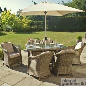 Maze Rattan Winchester Rectangular 6 Seat Garden Furniture Set