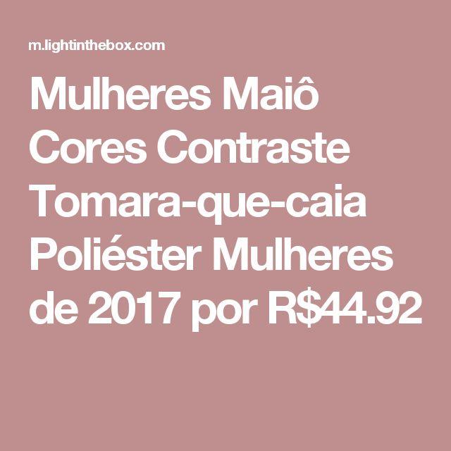 Mulheres Maiô Cores Contraste Tomara-que-caia Poliéster Mulheres de 2017 por R$44.92