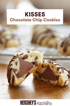 When it comes to the KISSES Chocolate Chip Cookies Recipe from HERSHEY'S Kitchens, there is more to this cookie than meets the eye! Learn how to make this delicious and easy-to-make recipe and find a chocolate candy surprise in each one of these chocolate chip cookies.
