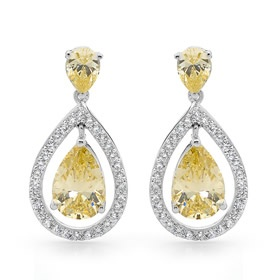 White & Canary Coloured CZ Earrings