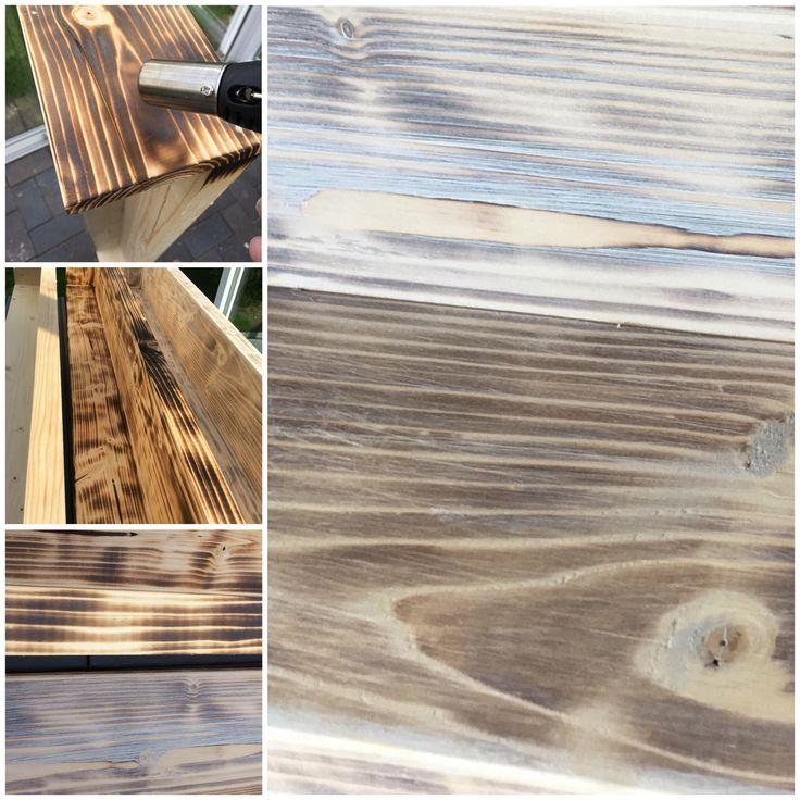 Holz altern lassen/ DIY /Treibholz/ Basteln/Essig/Backnatron/ Shabby/Vintage  Rohes Holz abflämmen mit Bunsenbrenner, die verbrannte Schicht ausbürsten mit einer Stahbürste oder Schwamm, danach mit weißem Antikwachs einreiben . Diese Alterungsmethode gefällt mir bisher am Besten !