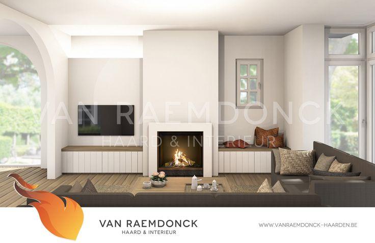 DRU Maestro 75 gashaard in een modern-landelijk interieur. Deze totaalrealisatie werd ontworpen en gerealiseerd door Van Raemdonck - Haard & Interieur.
