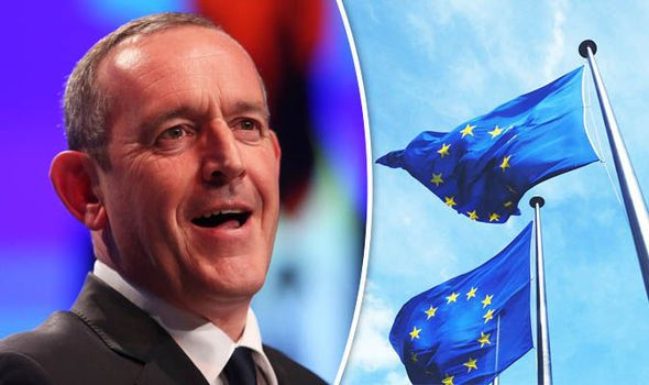 Stewart Hosie and EU flag