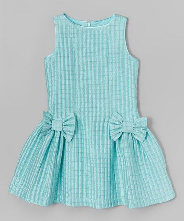 This Aqua Check Bow Dress - Girls is perfect! #zulilyfinds