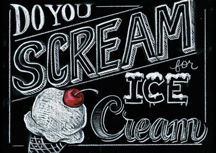 entire blog post of chalk menu! so nice! do you scream for ice cream chalkboard illustration