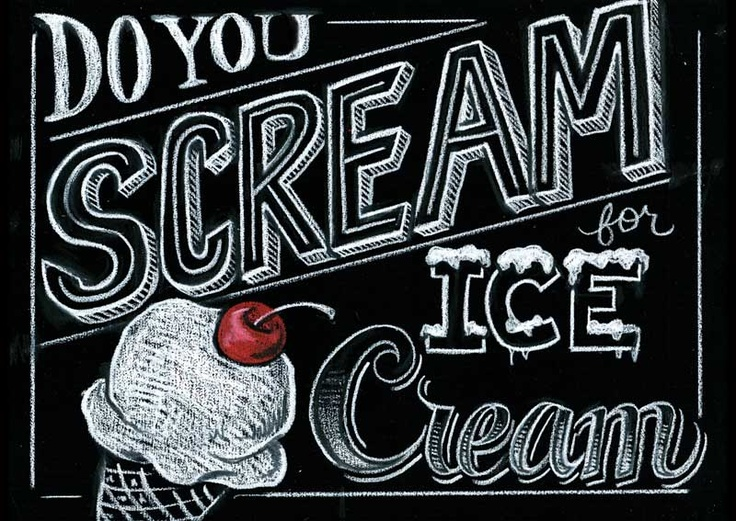 entire blog post of chalk menu! so nice! do you scream for ice cream chalkboard illustration