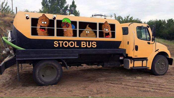 The Little yellow stool bus LOL he he he funny name for a Septic tank cleaning truck