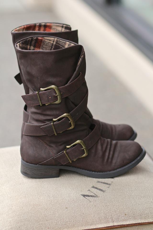 NanaMacs Boutique - Three Roads Three Buckle Mid-Calf Boot, $42.00 (http://www.nanamacs.com/three-roads-three-buckle-mid-calf-boot/)