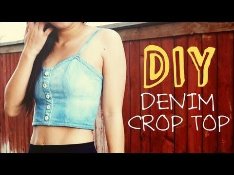 Denim Crop Top - Crafted by April of Coolirpa, an incredibly creative fashion blogger and YouTuber, this DIY denim crop top tutorial makes the impossibly complicate...