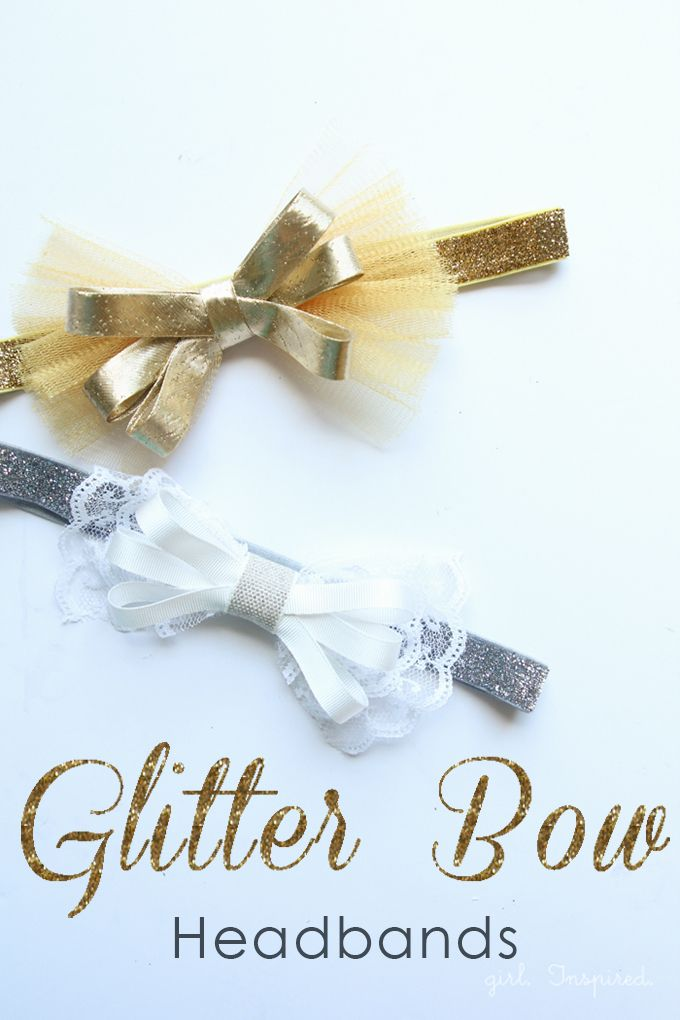 These darling Glitter Bow Headbands are easy to make and require no sewing at all!