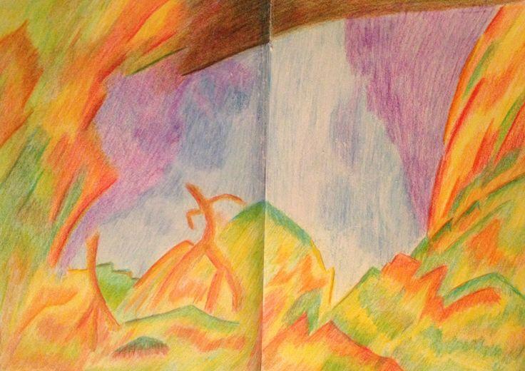 Ook thuis schilderen en tekenen mijn cursisten vlijtig. Mooi! Jannie Vermeulen, 'Droomland' Kleurpotloden en pastel, 2014