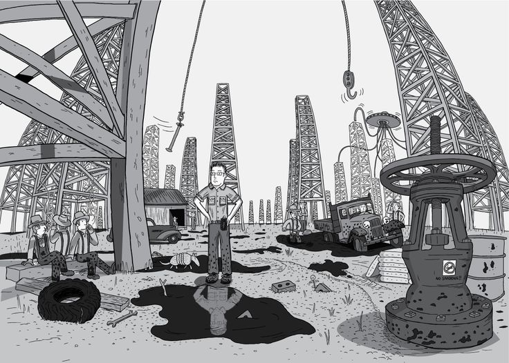 Panoramic wide-angle shot of man standing in the middle of a Texas oil field, surrounded by oil derricks and puddles of petroleum. Hands on hips, looking up to the derricks that tower overhead.  Image from Stuart McMillen's comic Peak Oil (2015), from the book Thermoeconomics (2017).