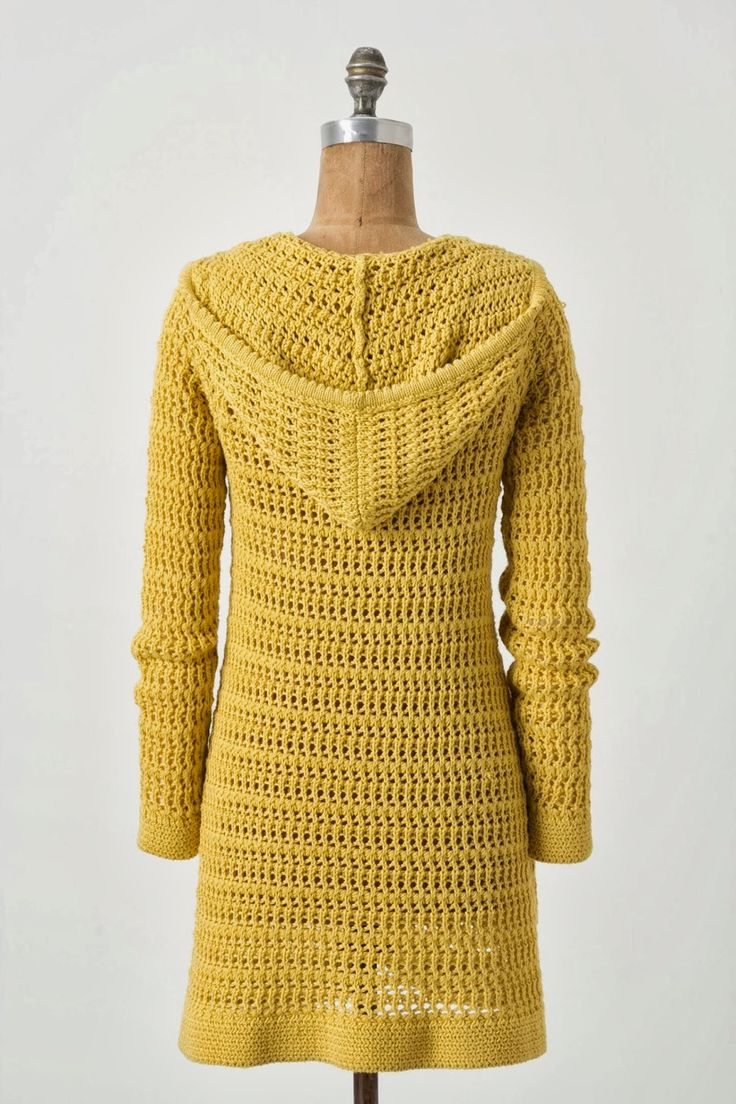 665 best crochet cardigan long sleeve images on pinterest mustard yellow hooded crocheted jacket in some lacy pattern bankloansurffo Image collections