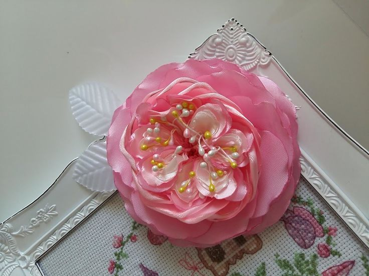 МК Английская роза из атласной ленты