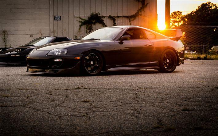 Download wallpapers 4k, Toyota Supra, sunset, supercars, tuning, Supra, japanese cars, Toyota