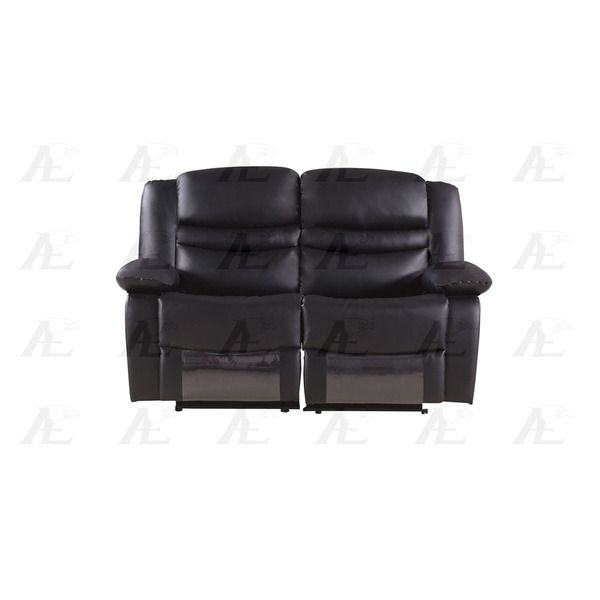 Pillow-Top Armrests Cup Holders Black Faux Leather Recliner Loveseat