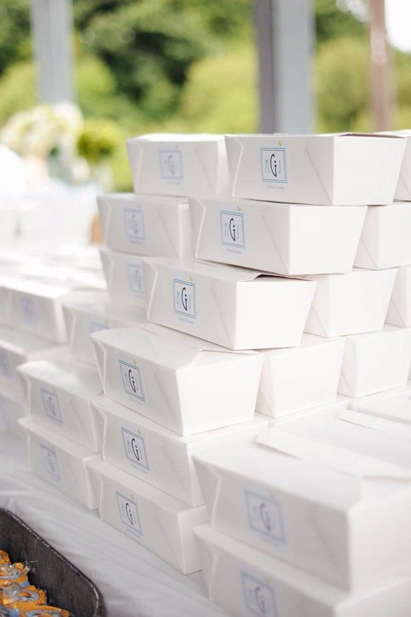 Packed wedding lunch, what a cute idea! Then instead of tables have a picnic! Maybe... Laid back wedding at its finest!