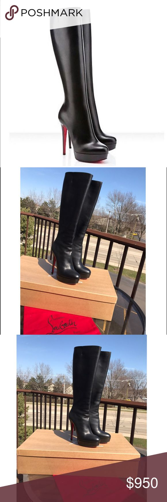"Christian Louboutin Bianca Botta Platform Boot 5'3"" (14cm) heel; 1"" platform (size 39.5) I'm 38 and it also good for my size and it works for size 39 too. Really comfortable. Never worn. Brand new. I put already sole protection for you. If you have Louboutin you should know that it is perfect to always have it.  14"" calf circumference. Full-length side-zip closure. Calfskin leather upper, lining and sole. By Christian Louboutin; made in Italy. Salon Shoes. Christian Louboutin Shoes Heeled…"