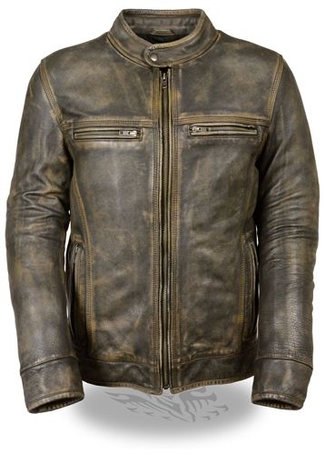 Men's Distressed Brown Leather Motorcycle Jacket