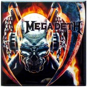 "Official Megadeth magnet featuring Metal Skull design. Size measures 8cm (3.25"") x 8cm (3.25"").  Perfect for refrigerators lockers & most metal surfaces."