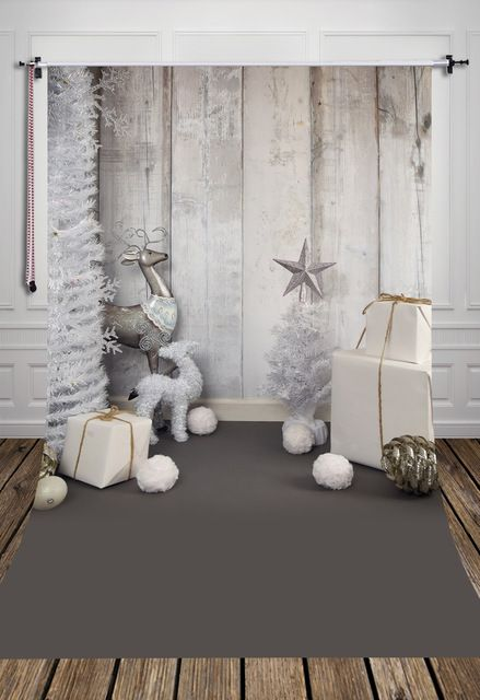 HUAYI Grey Wood Christmas Photography Photo Backdrop B1092