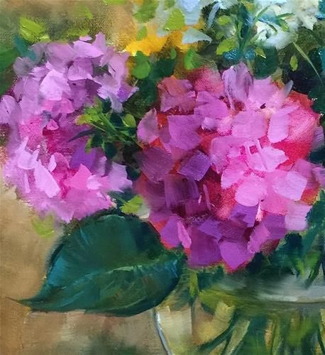 "Daily+Paintworks+-+""Slice+of+Pink+Hydrangeas""+-+Original+Fine+Art+for+Sale+-+©+Nancy+Medina"