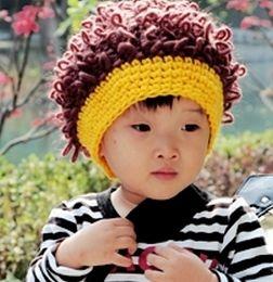 nieuwe mode baby muts schattige gebreide muts wol hoeden handgemaakte pruik vorm stijl hoeden kinky krullen op zoek unisex jongens/meisjes mooie hoeden(China (Mainland))