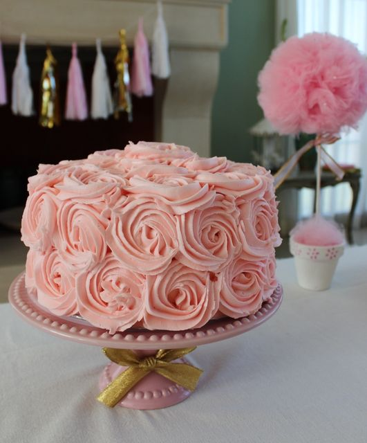 Amazing pink rose cake at a Princess girl birthday party! See more party ideas at CatchMyParty.com!