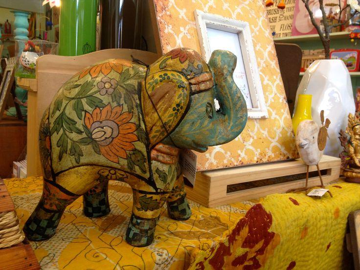 Funky elephant statue.