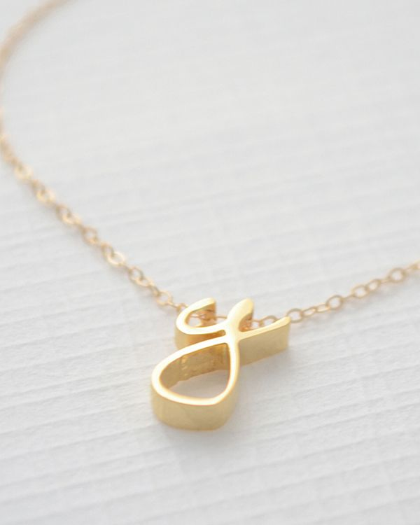 Win a timeless and delicate cursive initial necklace from Olive Yew! - Wedding Party I would love the rose gold color
