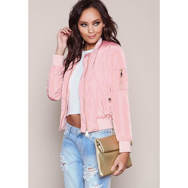 Pink Satin Bomber Jacket ($50) ❤ liked on Polyvore featuring outerwear, jackets, zipper jacket, zipped bomber jacket, zip jacket, bomber jacket and pink satin jacket