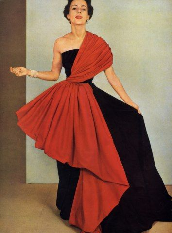 Grès (Germaine Krebs) 1950 Pottier, Evening Gown Fashion Photography