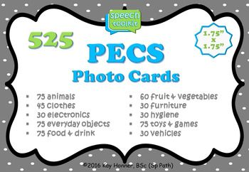"""Photo Cards for PECS Included in this bundle are 525 Photo Communication Cards, measuring 1.75x1.75"""" (4.5x4.5cm) from the following categories: 75 Animals 45 Clothes 30 Electronica 75 Everyday Objects 75 Food & Drink 60 Fruit & Vegetables 30 Furniture 30 Hygiene 75 Toys & Games 30 Vehicles You may also enjoy:Adapted Story Map & Story Element Visuals540 Photo Picture Cards for Therapy""""Did you know that you can receive credit towards future TpT purchases by reviewing this product?"""