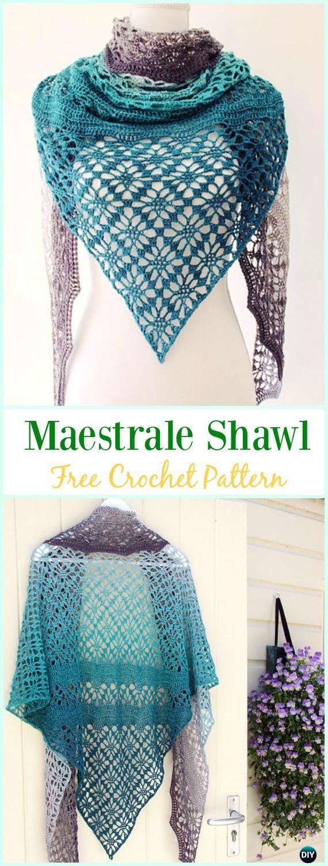 Crochet Maestrale Shawl Free Pattern - #Crochet; Women #Shawl; Sweater Outwear Free Patterns